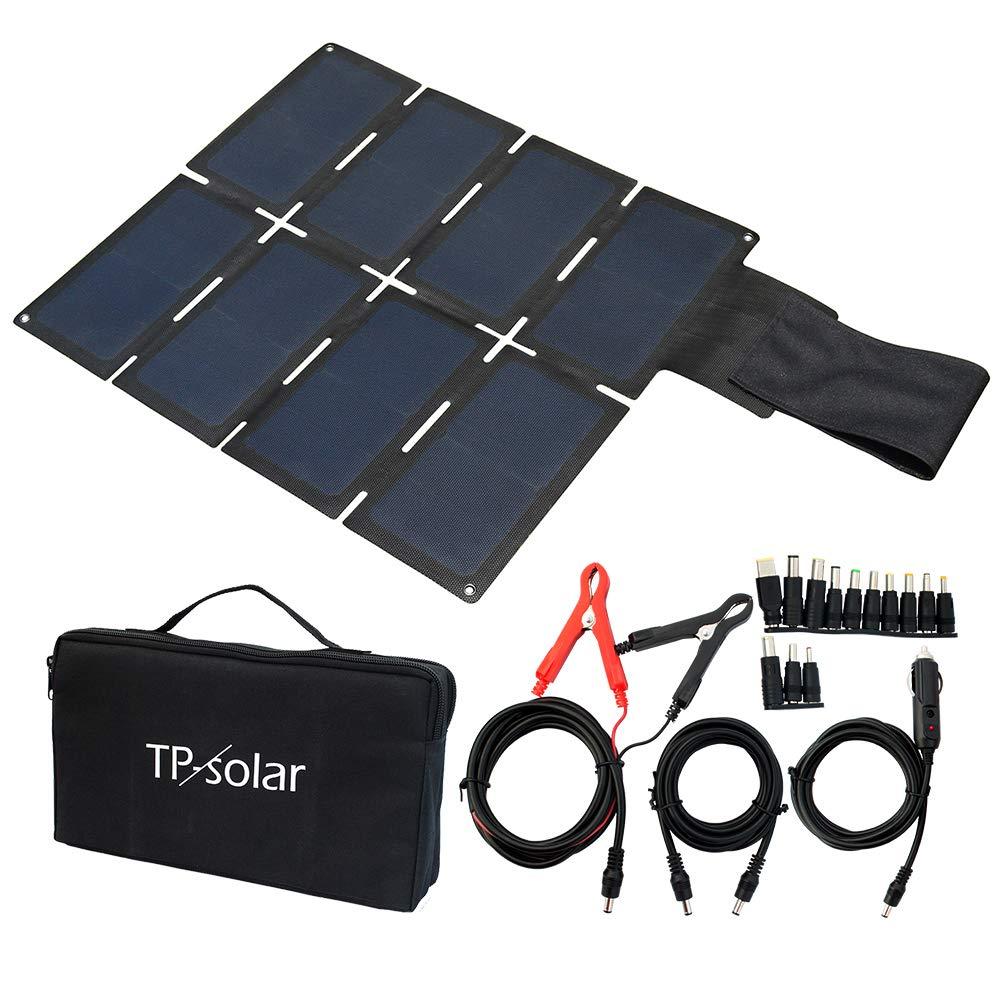 TP-solar 60W Portable Foldable Solar Panel Charger Kit Dual USB 5V + 18V DC Output for Portable Generator Power Station Cell Phone Tablet Laptop 12V RV Boat Car Battery by TP-solar