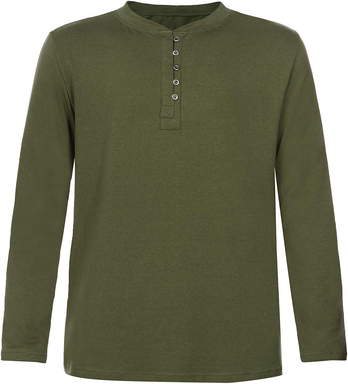 Henleys Men/'s Casual Project Deluxe Long Plus Size Shirt Top L 2XL