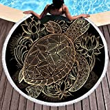 Sleepwish Gold Beach Towel, Round Beach Towel Blanket with Tassels, Boho Round Tapestry, Circle Beach Mats (Turtle Floral, 60'')
