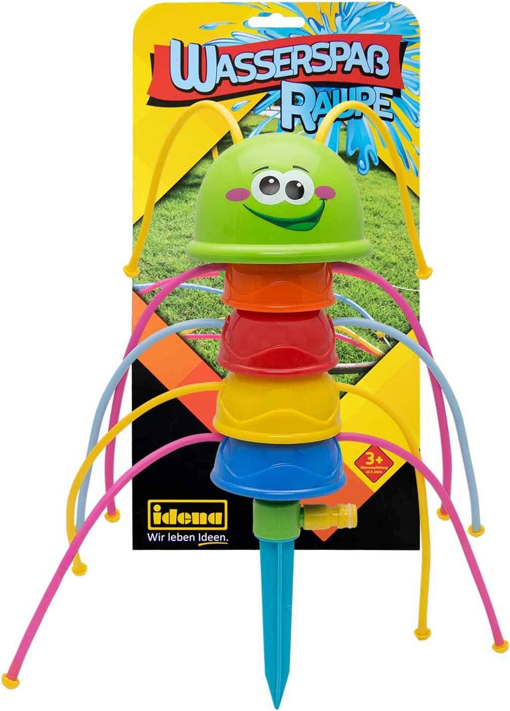 irrigatore con picchetto Multicolore Idena- Divertimento in Acqua con Bruco 40160 per Bambini a Partire dai 3 Anni Circa 41 cm Basta collegarlo al Tubo da Giardino