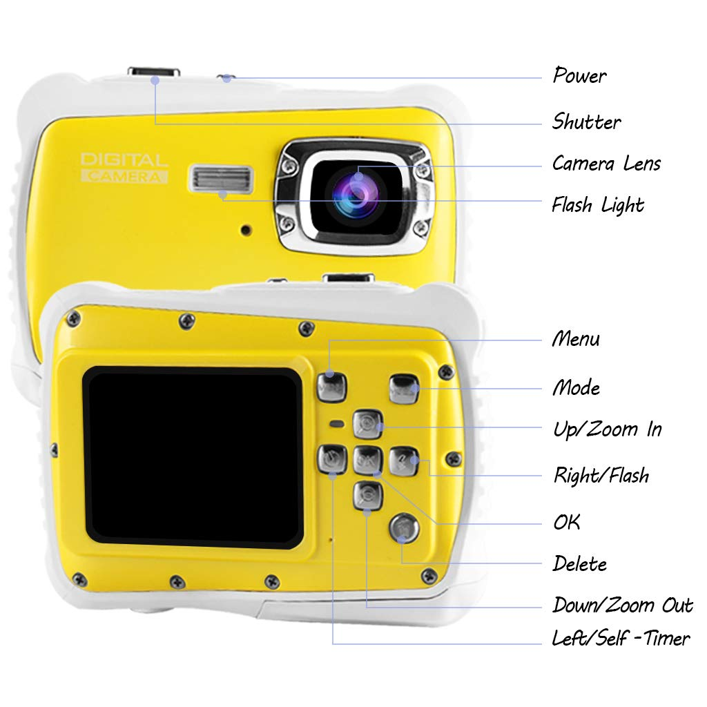 Underwater Camera for Kids, Waterproof Digital Camera Children Gift Mini Action Sport Camcorder 12MP HD/2.0 Inch LCD Display/8X Digital Zoom with 8GB SD Card & Batteries by Jamal (Image #2)
