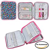 (US) Teamoy Organizer Case for Interchangeable Circular Knitting Needles, Crochet hooks and Knitting Accessories, Keep All in One Place and Easy to Carry, Flowers Blue (No Accessories Included)