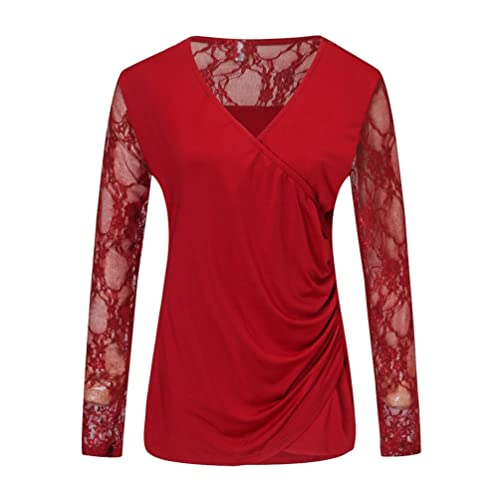 Anguang Mujer V Cuello Camiseta Cordón Manga Larga Envolver Fondo Ajustado Blusa Tops Tee