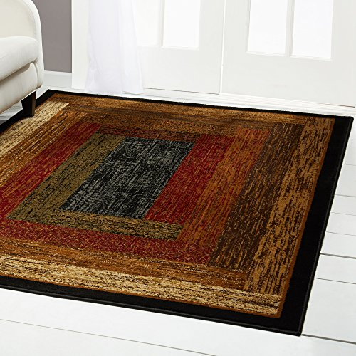 Home Dynamix Royalty Vega Modern Area Rug, Geometric Black/Brown/Red 5'2