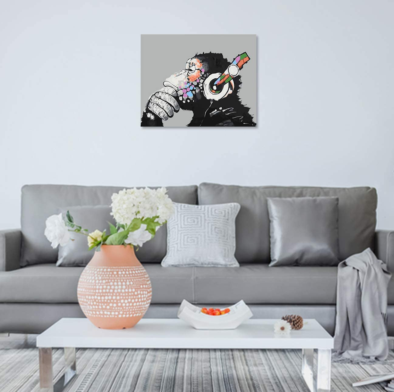 CUFUN Art Paint by Numbers Kit DIY Pre-Printed Canvas Oil Painting Gifts for Kids Adults Wall Decor without Frame 40x50cm Abstract Owl