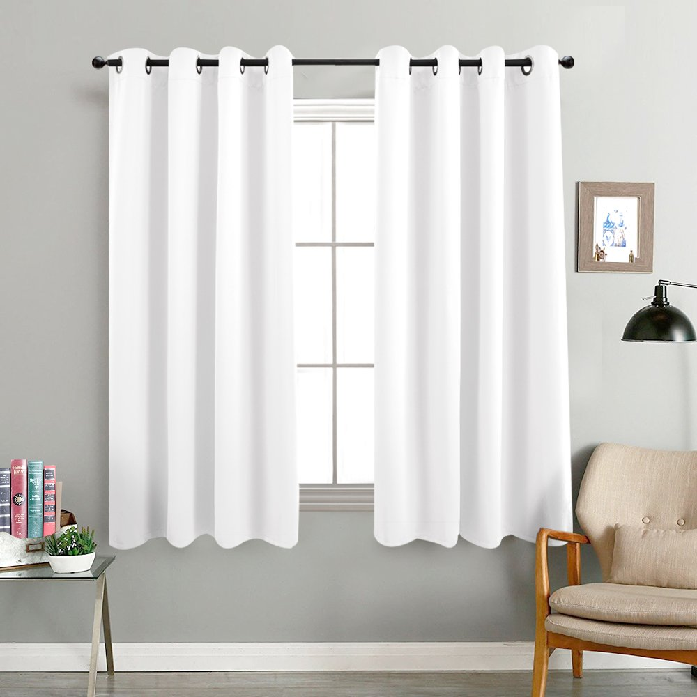 100% Blackout Curtain White Bedroom Window Treatment Panel 63 inch Grommet Thermal Insulated Drapes Sold Individually