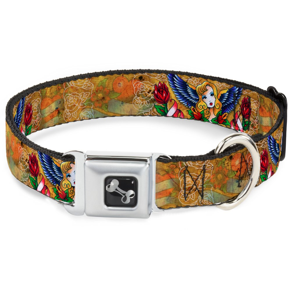 Buckle-Down Seatbelt Buckle Dog Collar TJ-Blonde 1  Wide Fits 9-15  Neck Small