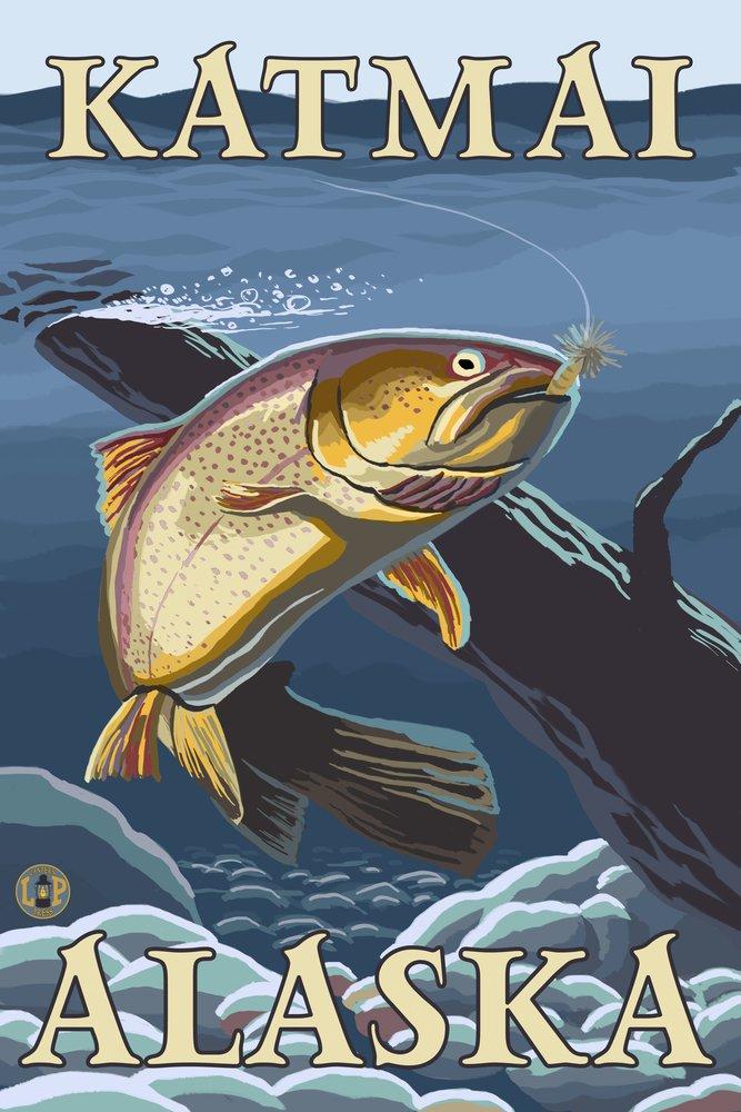 Trout Fishing cross-section – Katmai、アラスカ 36 x 54 Giclee Print LANT-14033-36x54 36 x 54 Giclee Print  B017EA0GMK