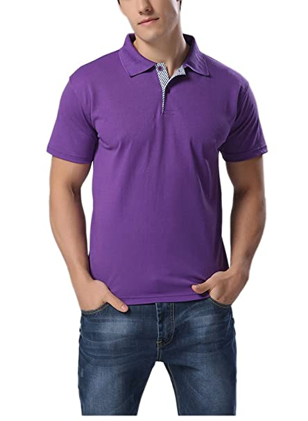 a4d02dcb Fengshang Men's Casual Slim Fit Solid Pique Polo Shirt Purple ...