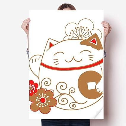 Japan Lucky Fortune Cat Flower Copper Vinyl Wall Sticker Poster Mural  Wallpaper Room Decal 80X55cm