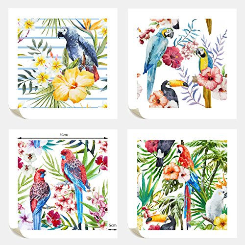 - VVOVV Wall Decor - Watercolor Pictures Rainforest Jungle Parrot Canvas Wall Art Print Tropical Paradise Birds Painting Unframed Abstract Nature Landscape Artwork