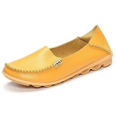 Damen Slipper, Gracosy Espadrilles Mokassins Bootsschuhe Hausschuhe Flache Schuhe Slip-on aus Leder Ultra Bequem (Hersteller-Größentabelle im Bild Beachten) Rot 37
