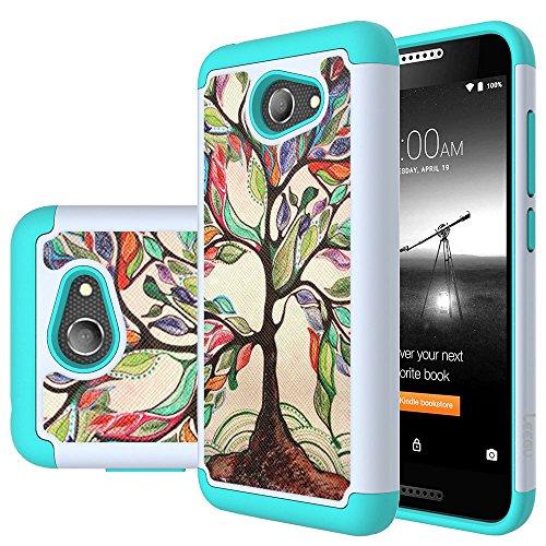 Alcatel A30 Phone Case, Alcatel Kora Case, Alcatel Zip LTE Case,LEEGU [Shock Absorption] Dual Layer Heavy Duty Protective Silicone Plastic Cover Rugged Case for Alcatel A30 GSM 5.0 Inch - Love Tree