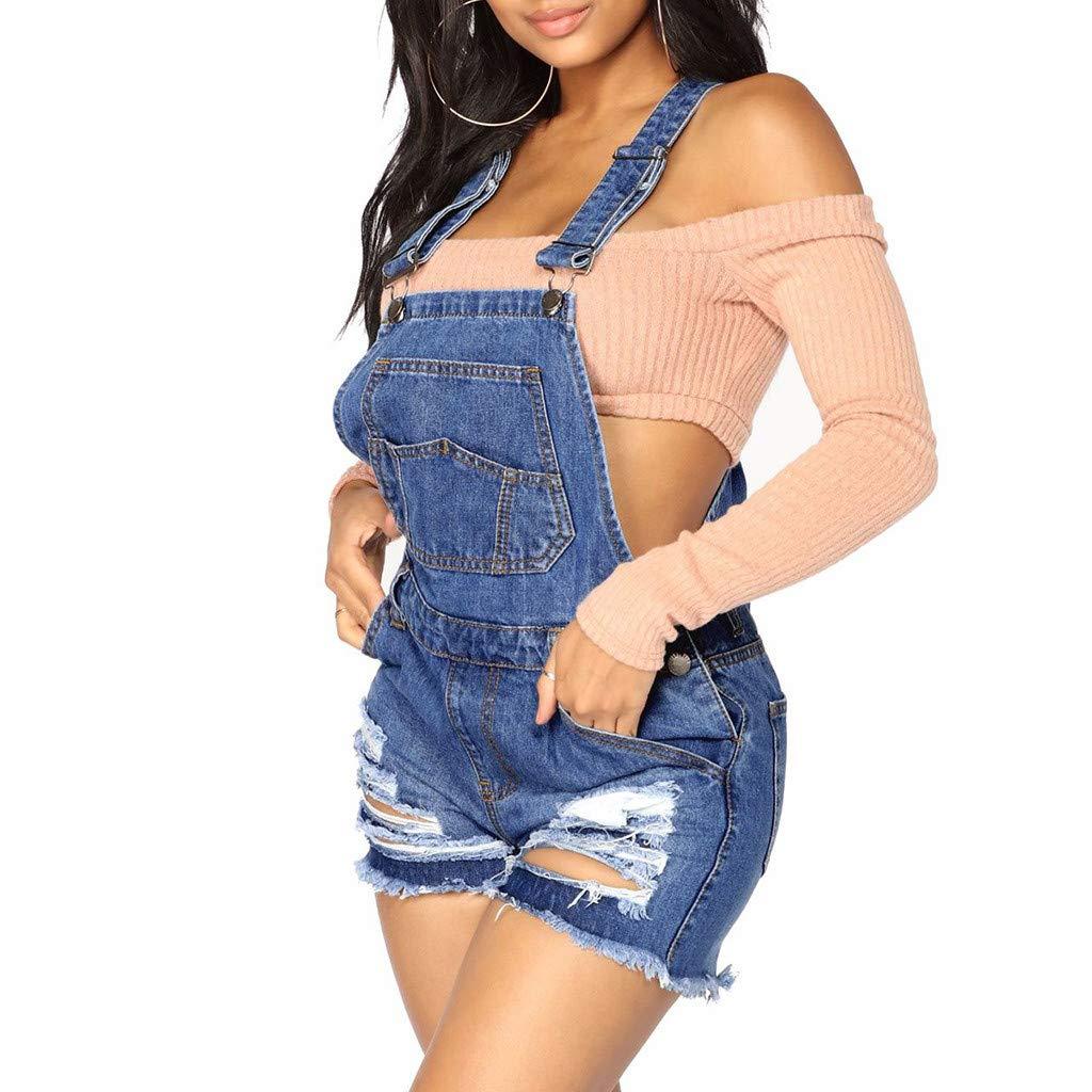 Women Shortalls Jumpsuit Denim Bid Pockets Ripped Short Overall Button Casole High Waist Short Playsuit
