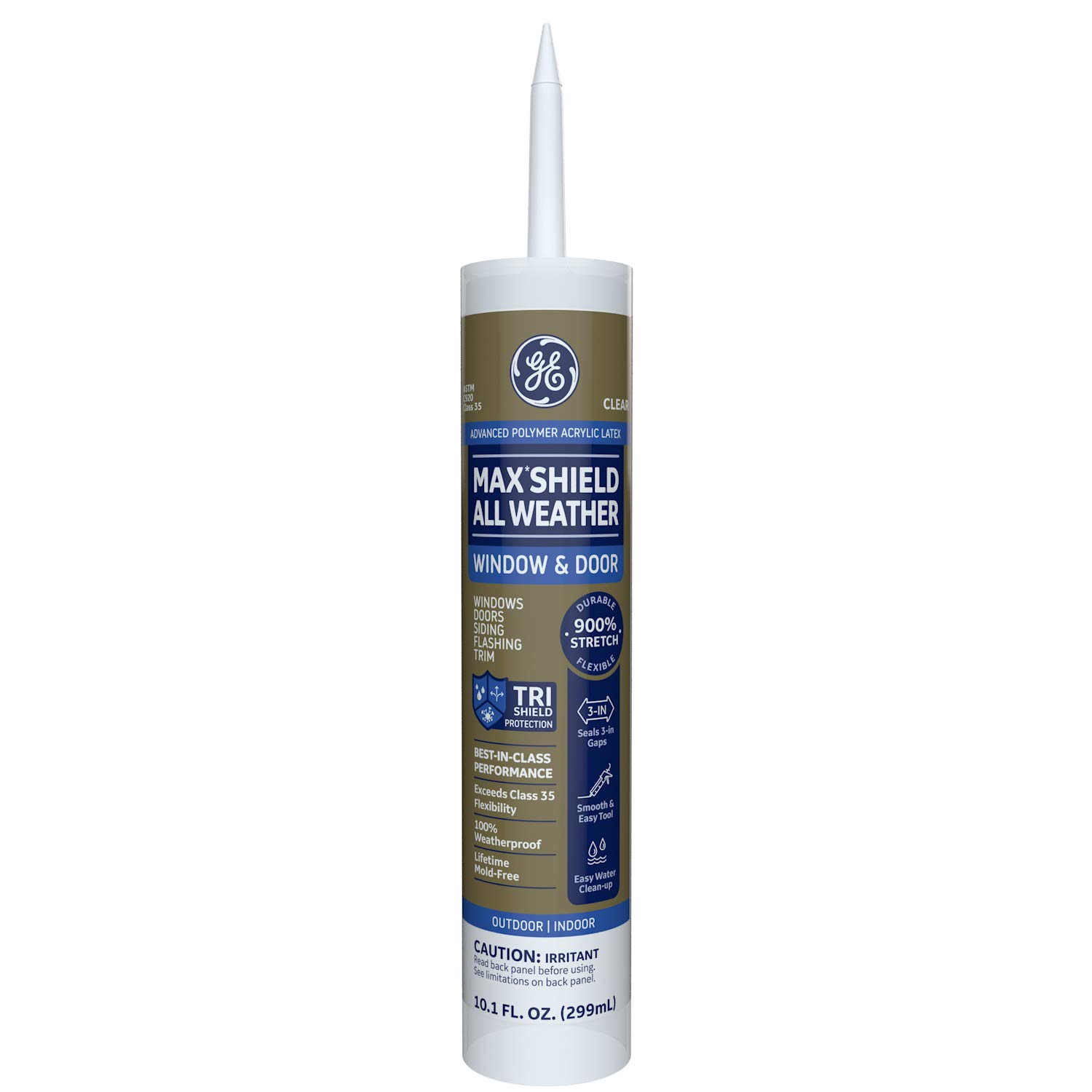 GE Momentive Performance Materials MAWD410CR Max Shield All Weather Siliconized Acrylic Latex Sealant Caulk, Clear, 10.1oz
