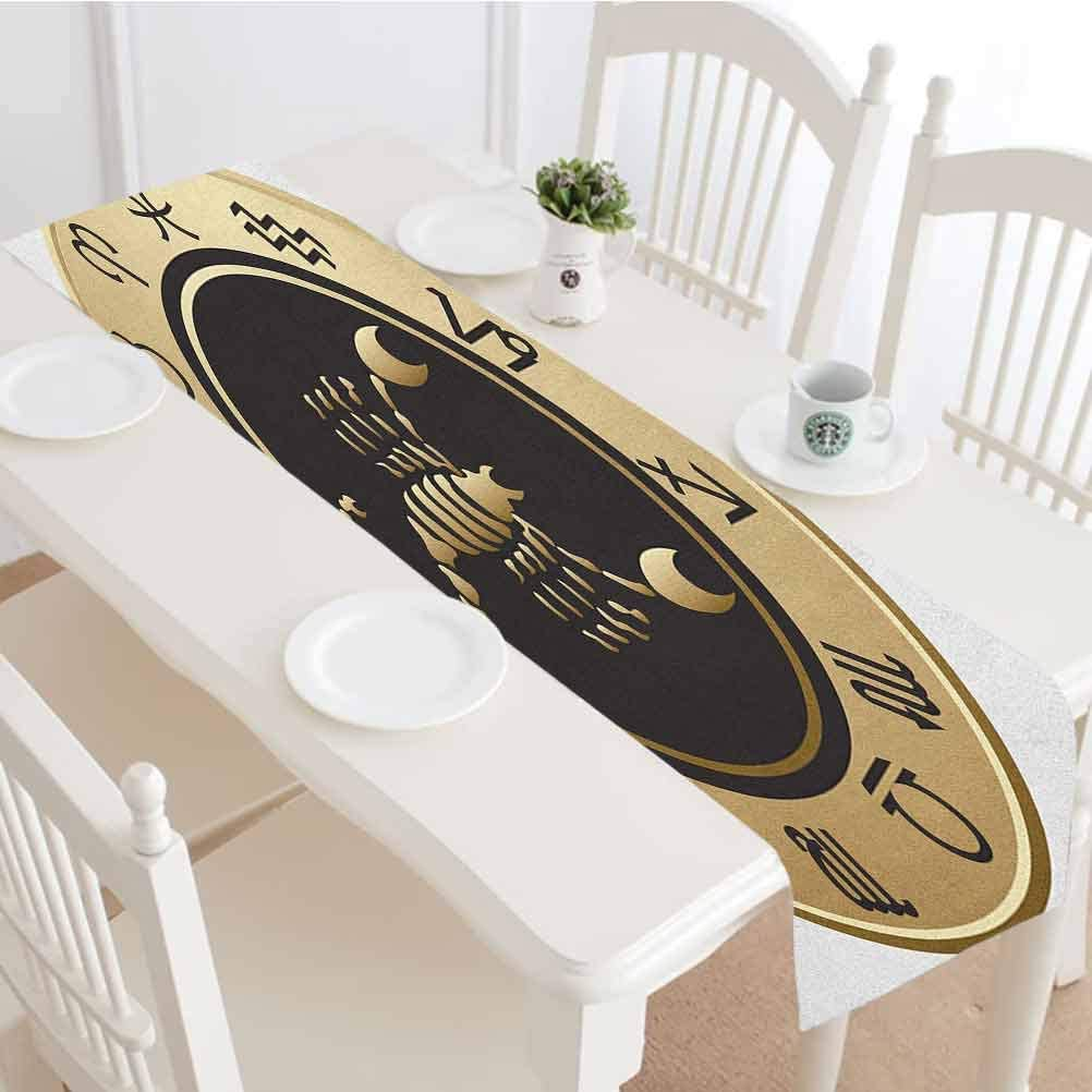 Zodiac Scorpio Table Runner,Twelve Signs in a Circle with Scorpion in the Middle Astrology Future Tabletop Collection for Dinner Parties Wedding Events Decor,16x84 Inch,Gold Black White