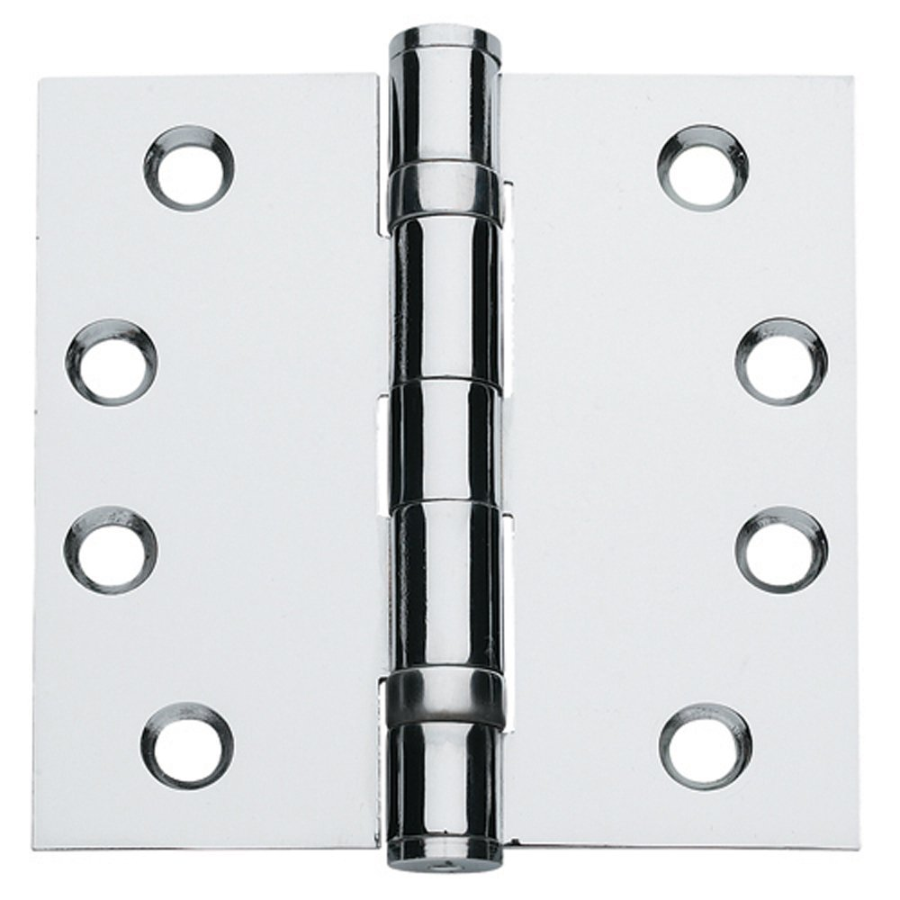 Global Door Controls 4.5 in. x 4.5 in. Bright Chrome Ball Bearing Non-Removable Pin Steel Hinge - Set of 3