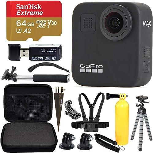 GoPro MAX 360 Sports Action Camera SanDisk Extreme 64GB microSDXC Top Value Bundle