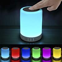 Elecstars Touch Bedside Lamp - with Bluetooth Speaker, Dimmable Color Night Light, Outdoor Table Lamp with Smart Touch…
