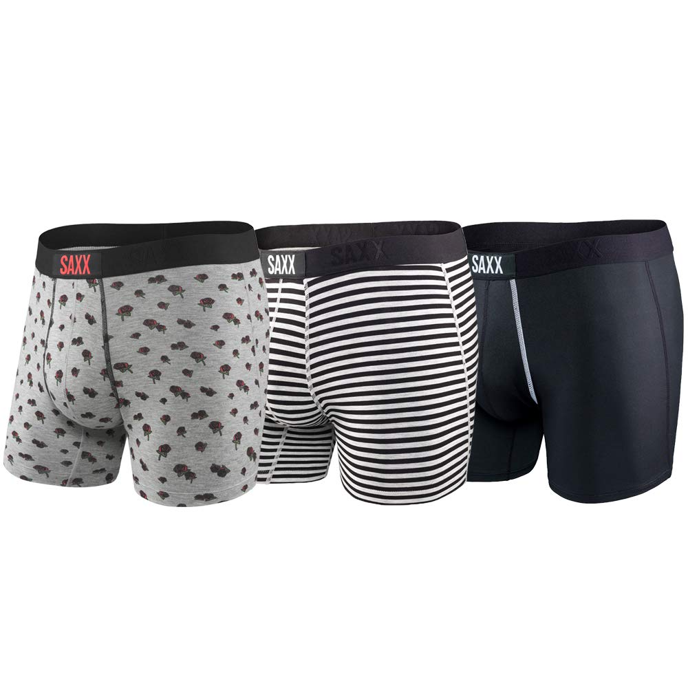 Saxx Underwear Men's 5 Boxer Brief 3-Pack Classic Vibe with Ballpark Pouch SXPP3VMHB-S