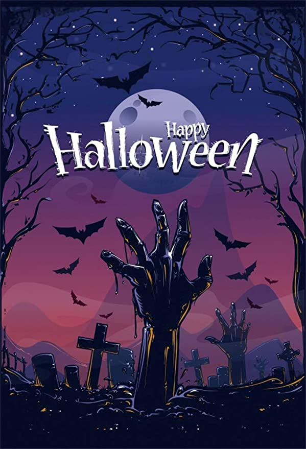 AOFOTO 6x6ft Halloween Night Background Horror Castle Ghost Tombstone Graveston Crucifix Bats Dead Trees Full Moon Photography Backdrop October 31 November 1 Celebration Vinyl Photo Studio Drapes