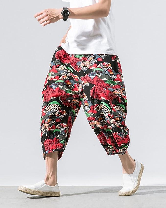 AnyuA Pantalones Estampados Hombre De Lino Estilo Casual De Fiesta Harem  Capri Pantalon  Amazon.es  Ropa y accesorios 453d539fcf8c