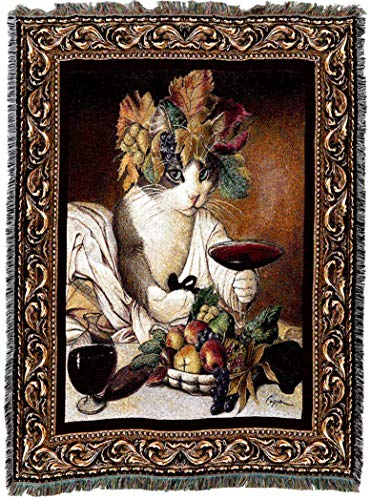 (Pure Country Weavers | Bacchus Cat Wine Lover Cat Woven Tapestry Blanket or Wall Art with Fringe Cotton USA 72x54)