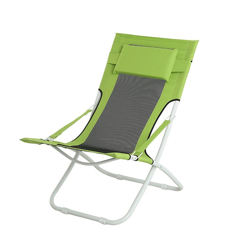 折り畳み式椅子家庭用怠惰ランチブレークチェアソファーチェアバルコニーラウンジチェアビーチチェアーグリーンオレンジ B07D2XBZR6 緑 緑