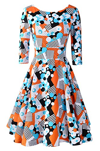 Chicanary Women's Back V-Neck 3/4 Sleeve Swing Vintage Dress Geometric Medium