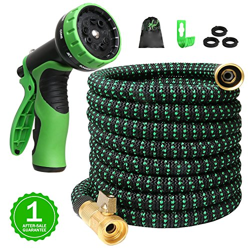 75ft Expandable Garden Hose Expanding Water Hoses, 75feet Flexible Lightweight Gardening Hoses No Kink, Outdoor Yard Cloth Hose can 3x Expandable with 100% Solid Brass Valve 9 Function Hose Nozzle