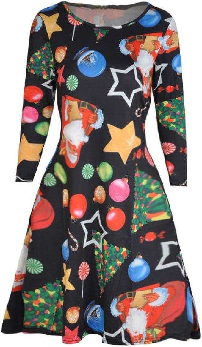 MyMixTrendz Frauen Weihnachten Neuheit Sankt Rudolph Schwingen Flare Skater Plus Size Kleid