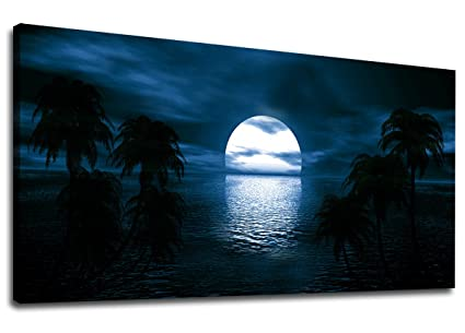 Canvas Wall Art Moon on Sea Ocean Night View Panoramic Blue Seascape Scenery Painting - Long  sc 1 st  Amazon.com & Amazon.com: Canvas Wall Art Moon on Sea Ocean Night View Panoramic ...