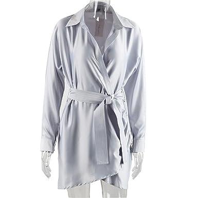 Hexu Outono cinto wrap dress de cetim camisa de manga longa Elegante do partido sexy clube