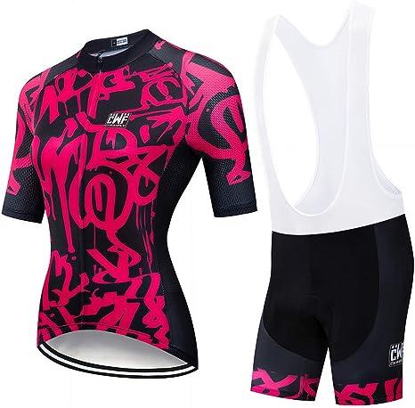 OD-B Ciclismo para Mujer Conjunto De Camisetas De Bicicleta, Ropa para Bicicleta De Deportes Al Aire Libre Camisas De Manga Corta Pantalones Acolchados 9D, Trajes De Ropa Deportiva para Montar: Amazon.es: Deportes