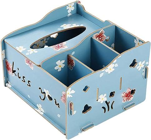 Jixing - Caja de madera para pañuelos, 4 compartimentos, soporte para mando a distancia, organizador de escritorio, caja de almacenamiento grande L*W*H 18.5*17*12cm Blue Lotus: Amazon.es: Hogar