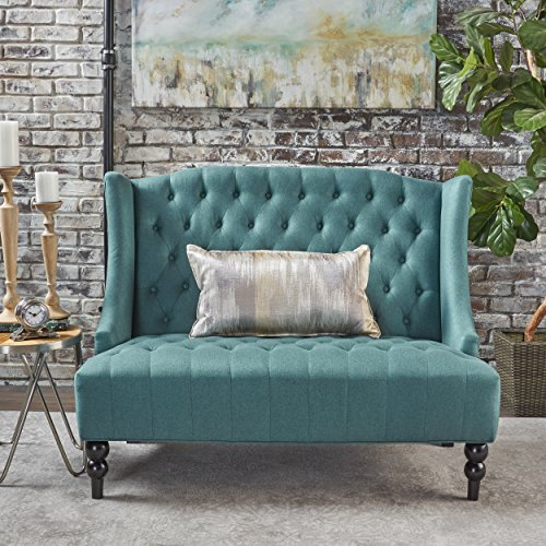 - GDF Studio Leona Contemporary Tufted Fabric Wingback Loveseat, Dark Teal and Dark Brown