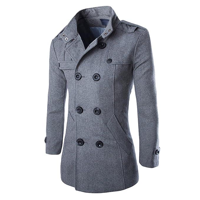 Hiroo Parka Uomo Cappotto Lungo Inverno Trench Coat Doppio Breasted Giacca  Jacket Slim Fit Outwear Elegante c73b4b312ea