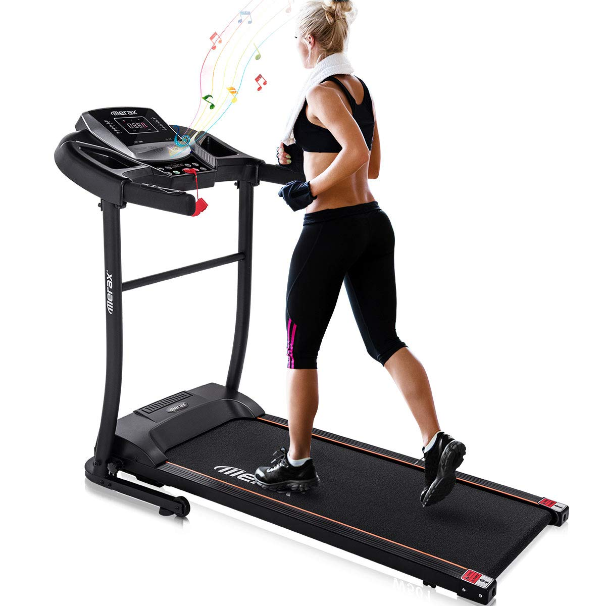 Merax Electric Folding Treadmill - Easy Assembly Fitness Motorized Running Jogging Machine with Speakers for Home Use, 12 Preset Programs (Black) by Merax (Image #1)