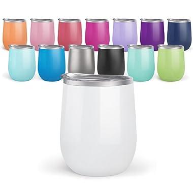 Maars Drinkware BEV Steel Insulated Wine Glass Tumbler, 12 oz-2 Pack, Mint