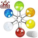 morpilot Collar LED Luz Perro, 6Pcs Clip-on Luces de Colores de Seguridad Luminoso Impermeable para Mascotas por Caminar por la Noche, 6 Baterías + 6 Baterías Extras Incluidas