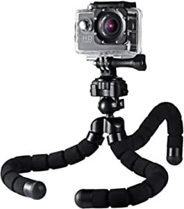 "AUKEY Flexible Tripod with Phone Mount and Camera Mount, Phone Tripod for iPhone X/8 Plus/7 Plus/6s, Samsung, Android Phones, Video Tripod for DSLR Digital Camera with 1/4"" Mount Screw (Black)"