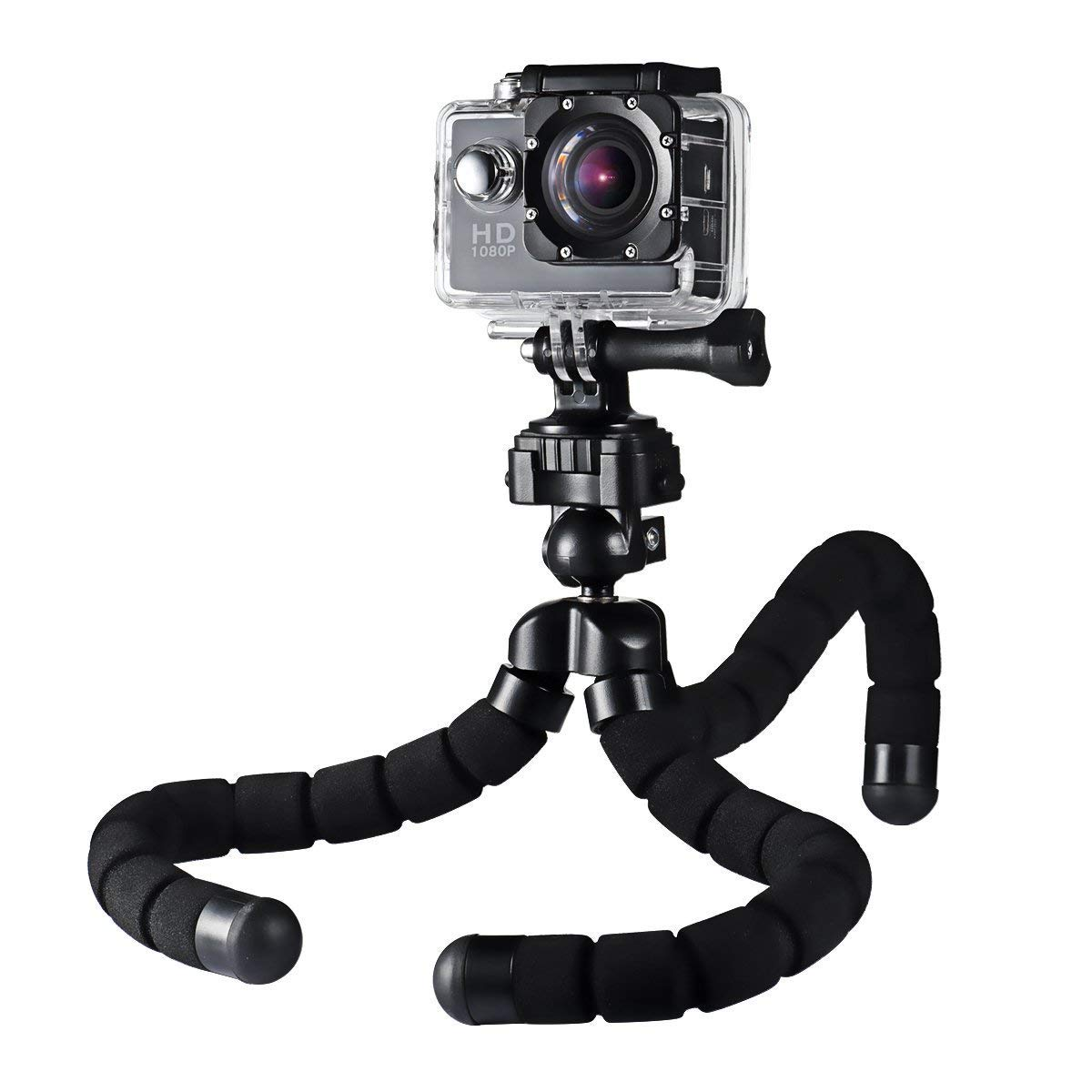 AUKEY Camera Tripod Mini Flexible Compact 360 Degrees with 1/4'' Screw Phone Holder for Smartphones, Video Stand for GoPro, DSLR Digital Camera and More