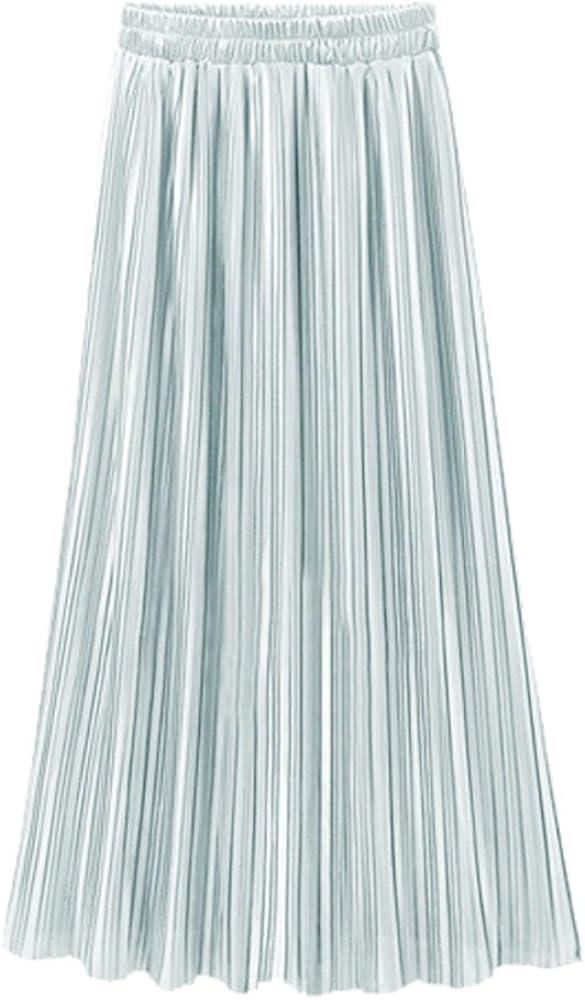 Skang Mujer Falda Larga Plisada Cintura elástica Básica Skirt de ...