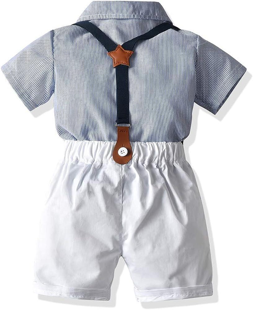 Abiti per Neonato Abiti per Neonato Gentleman Outfit Suit Set Corti con Camicia da Cravatta Bretelle Bid Pantaloni per Gilet Set di Tute per Camicie