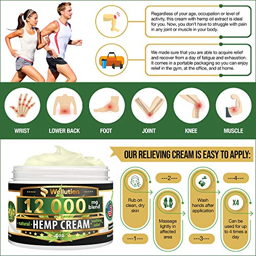 61VR8CuQSdL - Hemp Cream - 12000 mg / 4 oz - Natural Seed Oil Extract for Knee, Lower Back, Foot, Muscle, Wrist and Joint Pain Relief - Extra Strength Massage Lotion with Arnica, Menthol and Organic Oils