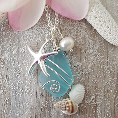 Starfish Necklace Pearl (Handmade in Hawaii, Wire Wrapped Turquoise Bay blue sea glass necklace, Starfish charm, freshwater pearl, sterling silver chain, Hawaiian Gift, FREE gift wrap, FREE gift message)