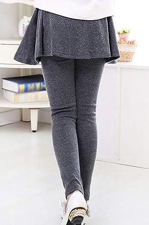 Pantalones para Niña Leggins Largos con Falda Color Sólido Oscuro ...