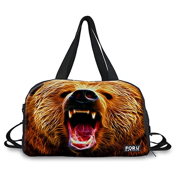 458a05ced5 FOR U DESIGNS Cool Bear Print Durable Canvas Fitness Travel Duffel ...