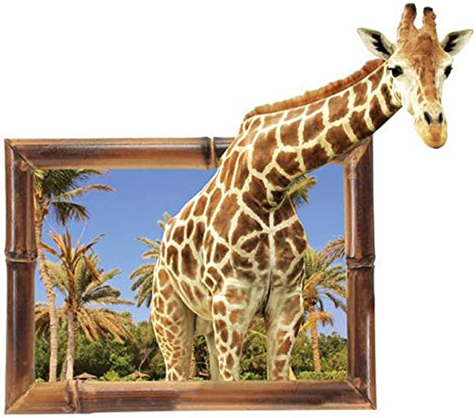 3D Animlas Giraffe Home Room Decor Removable Wall Stickers Decals Decorations