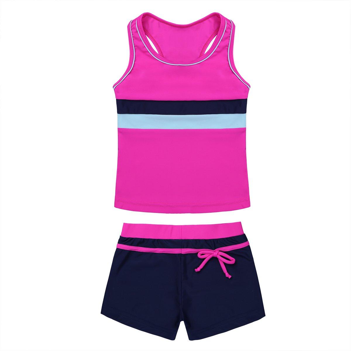 iiniim Big Girls Two Piece Halter Tankini Swimsuit Tank Top with Boyshort Sets Summer Beach Bathing Suit Rose&Navy 10